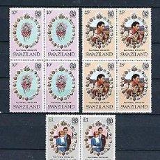 Sellos: SWAZILAND,1981,BODA REAL LADY DI Y PRÍNCIPE CARLOS, NUEVOS,MNH**,YVERT 372-374,BLOQUE DE CUATRO. Lote 161468374