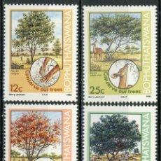 Sellos: BOPHUTHATSWANA 1985 IVERT 144/47 *** PRESERVACIÓN DE LA NATURALEZA - ARBOLES - FLORA. Lote 176199773