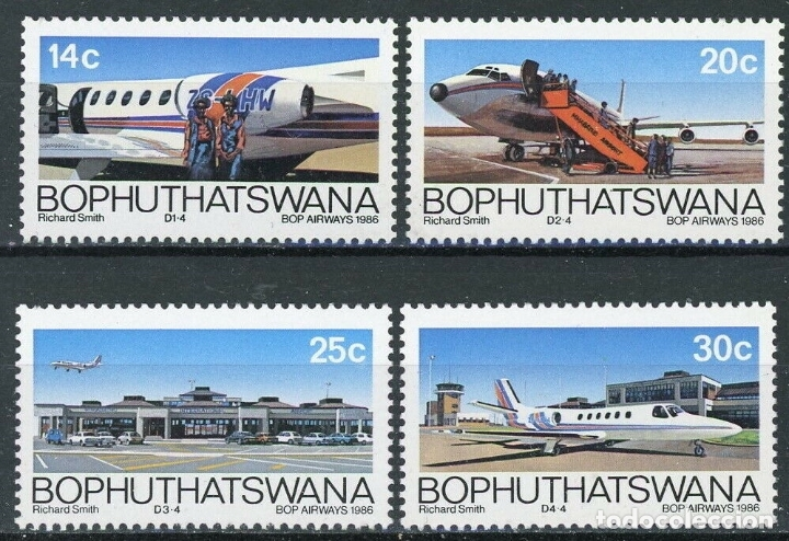 BOPHUTHATSWANA 1986 IVERT 177/80 *** 5º ANIVERSARIO DE LA COMPAÑIA AEREA DE BOPHUTHATSWANA - AVIONES (Sellos - Extranjero - África - Sudáfrica)