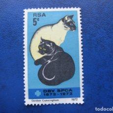 Sellos: -AFRICA DEL SUR 1972, CENT.SOCIEDAD PROTECTORA DE ANIMALES, YVERT 337. Lote 178860047