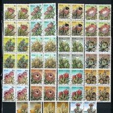 Sellos: ÁFRICA DEL SUR,1977,SERIE GENERAL,FLORES,15 VALORES,NUEVOS, EN BLOQUE DE CUATRO. Lote 193356478