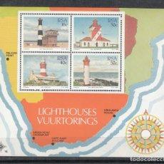 Sellos: SUDAFRICA RSA 1988 - FAROS - YVERT BLOCK Nº 21**. Lote 199583835