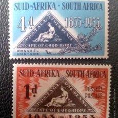 Sellos: AFRICA DEL SUR. 194/95 CENTENARIO DE LOS SELLOS TRIANGULARES. 1953. SELLOS NUEVOS Y NUMERACIÓN YVERT. Lote 201539780