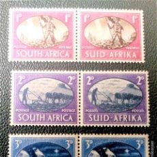 Sellos: AFRICA DEL SUR. 157/59 ANIVERSARIO DE LA VICTORIA, EN PAREJA. 1946. SELLOS NUEVOS Y NUMERACIÓN YVERT. Lote 201540133