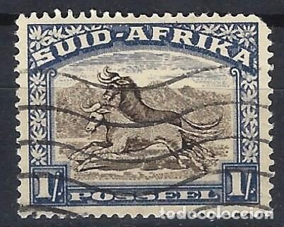 SUDÁFRICA 1927 - MOTIVOS LOCALES, 1 S AZUL - SELLOS USADOS (Sellos - Extranjero - África - Sudáfrica)