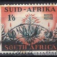 Sellos: SUDÁFRICA 1953 - MOTIVOS LOCALES, PLANTA ALOE - SELLO USADO. Lote 210024145