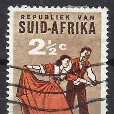 Sellos: SUDÁFRICA 1962 - DANZA FOLKLÓRICA , VOLKSPELE- SELLO USADO. Lote 210026547