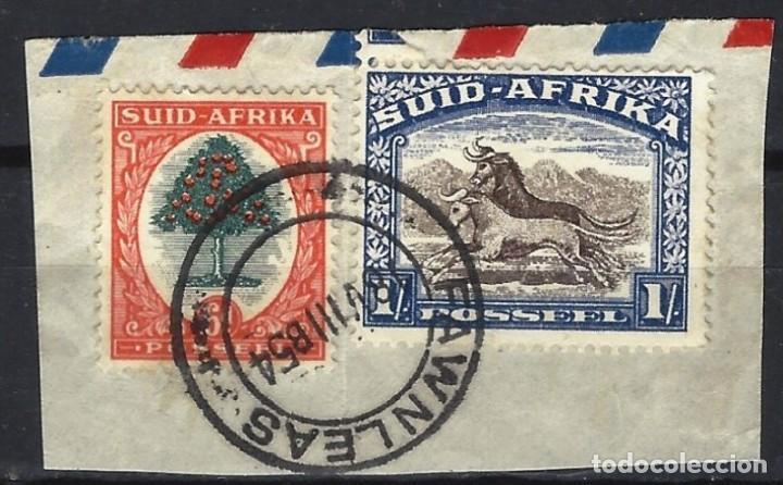SUDÁFRICA 1954 - MOTIVOS LOCALES, 2 SELLOS SOBRE PAPEL , PRECIOSO TIMBRE - SELLOS USADOS (Sellos - Extranjero - África - Sudáfrica)