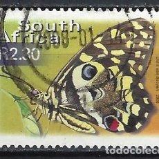 Sellos: SUDÁFRICA 2000 - FAUNA MARIPOSAS, PAPILLIO DEMOCUS - SELLO USADO. Lote 210029437