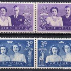 Sellos: SOUTH AFRICA/1947/MH/SC#103-4/ REY EDUARD VII & REINA ELIZABETH /PRINCESA MARGARET ROSE & ELIZABETH. Lote 215518628