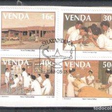 Sellos: VENDA (REP. SUDAFRICANA) Nº 175/178º SOBRE FRAGMENTO. ESCUELA DE ENFERMERAS.. SERIE COMPLETA. Lote 215993078