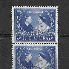 Sellos: ÁFRICA DEL SUR, 1948, BODAS DE PLATA, LEYENDA EN AFRIKAANS E INGLÉS,YVERT 166-167, UNIDOS. Lote 217726103
