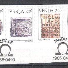Sellos: VENDA (REP. SUDAFRICANA) Nº 138/141º SOBRE FRAGMENTO. HISTORIA DE LA ESCRITURA V.. SERIE COMPLETA. Lote 218830268