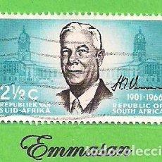 Sellos: SUDÁFRICA - MICHEL 356 - YVERT 226 - CONMEMORACIÓN DE VERWOERD. (1966).. Lote 219188588