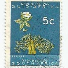 Sellos: SELLO USADO DE SUDAFRICA DE 1966- BAOBAB - YVERT 286- VALOR 5 CENTIMOS- VARIANTE. Lote 232869985