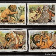Sellos: CISKEI 158/61** - AÑO 1989 - FOLKLORE SUDAFRICANO - FABULA DEL LEON Y EL CHACAL. Lote 253561560