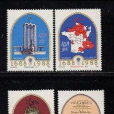 Sellos: SUDAFRICA 644/47** - AÑO 1988 - TRICENTENARIO DE LA LLEGADA DE LOS HUGONOTES FRANCESES A SUDAFRICA. Lote 257329225
