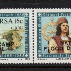 Sellos: SUDAFRICA 642/43** - AÑO 1988 - PRO VICTIMAS DE LAS INUNDACIONES. Lote 261618660
