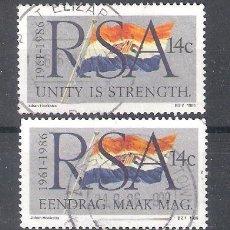 Sellos: REPÚBLICA SUDAFRICANA Nº 604/605º 25 ANIVERSARIO DE LA REPÚBLICA. BANDERA. SERIE COMPLETA. Lote 266361048