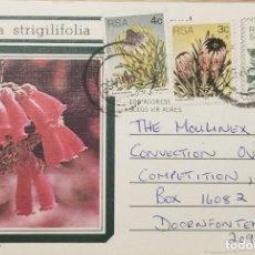 Sellos: O) 1977 SUDÁFRICA, FLORES, LOGIFOLIA, NERIFOLIA, CINAROIDES, ERIKA STRIGILIFOLIA, 5C PAPELERÍA POSTA. Lote 275316218