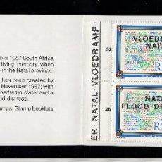 Sellos: SUDAFRICA CARNET 636/37** - AÑO 1987 - PRO VICTIMAS DE LAS INUNDACIONES. Lote 277505718