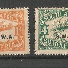 Sellos: SOUTH AFRICA - SUIDA AFRIKA - SOBRECARGA SWA - AIR POST - 2 VALORES NUEVOS. Lote 282578353