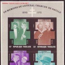 Sellos: TOGO HB 50** - AÑO 1971 - EN MEMORIA DEL GENERAL DE GAULLE. Lote 288230378