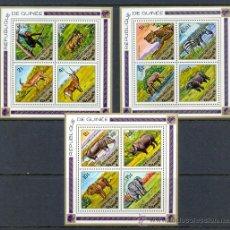 Sellos: GUINEA 1975 FAUNA SALVAJE - ELEFANTES - 3 HOJAS BLOQUE YVERT 27/29. Lote 24076834