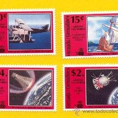 Sellos: GRENADA GRENADINES 1991 - AVIONES-ASTRO-BARCOS-Nº DE YVERT 1220/23. Lote 254473970
