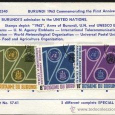 Sellos: SELLOS BURUNDI 1963 1º ANIVERSARIO DE LA ADMISION DE BURUNDI EN LA ONU 5 VALORES. Lote 27254741