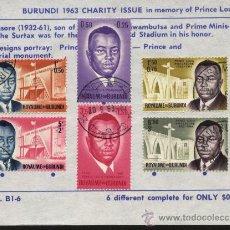 Sellos: SELLOS BURUNDI 1963 EN MEMORIA DEL PRINCIPE LOUIS RWAGASORE (1932-61). Lote 27254743