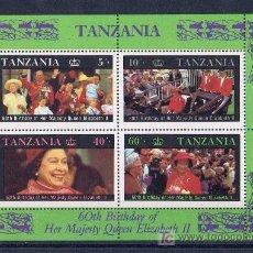 Sellos: TANZANIA HOJITA PRIMER DIA REINA DE UK. Lote 19162834