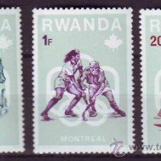 Sellos: RWANDA/RUANDA****.MONTREAL 1976.DEPORTES.3 VALORES NUEVOS SIN FIJASELLOS.. Lote 22204140