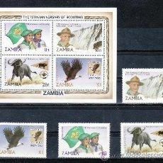 Sellos: ZAMBIA 258/61, HB 11 SIN CHARNELA, 75º ANIVERSARIO DEL SCOUTS, BANDERA, AVES, FAUNA, . Lote 23595292