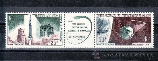TIERRAS AUSTRALES & ANTARTICAS FRANCESA A 11A SIN CHARNELA, LANZAMIENTO PRIMER SATELITE NACIONAL (Sellos - Extranjero - África - Otros paises)