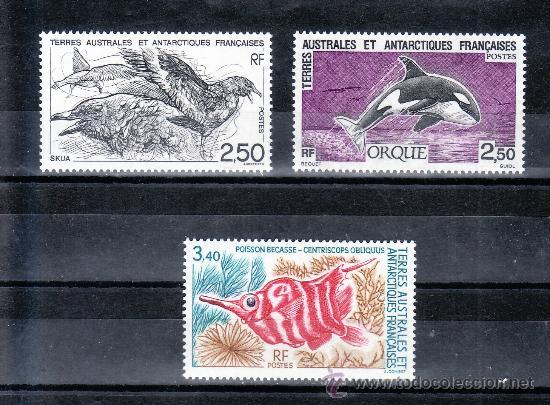 TIERRAS AUSTRALES & ANTARTICAS FRANCESA 176/8 SIN CHARNELA, FAUNA, PAJAROS, ORCA, PECES, (Sellos - Extranjero - África - Otros paises)