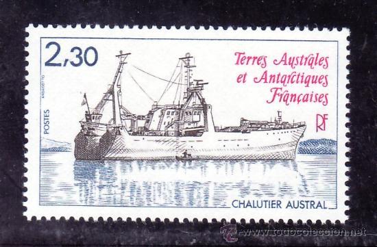 TIERRAS AUSTRALES & ANTARTICAS FRANCESA 100 SIN CHARNELA, BARCO ARRASTRERO (Sellos - Extranjero - África - Otros paises)