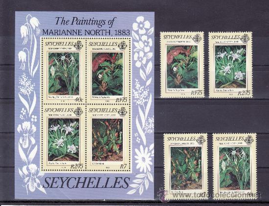SEYCHELLES 535/8, HB 22 SIN CHARNELA, FLORES, PINTURA DE MARIANNE NORTH (Sellos - Extranjero - África - Otros paises)