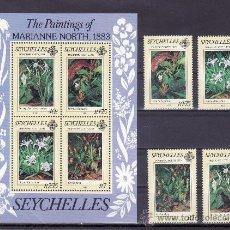 Sellos: SEYCHELLES 535/8, HB 22 SIN CHARNELA, FLORES, PINTURA DE MARIANNE NORTH. Lote 24236610