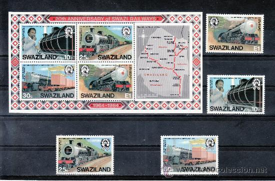 SWAZILAND 464/7, HB 11 SIN CHARNELA, FF.CC., 20º ANIVERSARIO DEL FERROCARRIL EN SWAZILAND (Sellos - Extranjero - África - Otros paises)