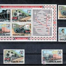 Sellos: SWAZILAND 464/7, HB 11 SIN CHARNELA, FF.CC., 20º ANIVERSARIO DEL FERROCARRIL EN SWAZILAND. Lote 24142314