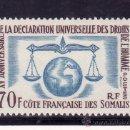 Sellos: COSTA DE SOMALIA PROTECTORADO FRANCES 318 SIN CHARNELA 15 ANIV DECLARACION UNIVERSAL DERECHOS HUMANO. Lote 24211672