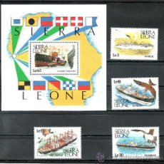Sellos: SIERRA LEONA 898/901, HB 79 SIN CHARNELA, FAUNA, AVES, BARCO Y PAJAROS DE MAR. Lote 24229702