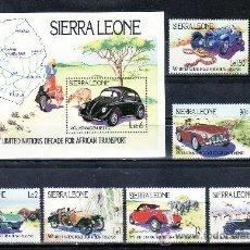 Sellos: SIERRA LEONA 589/94, HB 23 SIN CHARNELA, FAUNA, AVES, AUTOMOVILES CLASICOS, . Lote 138949126