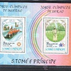 Sellos: SANTO TOME Y PRINCIPE HB 40 SIN CHARNELA, DEPORTE, JUEGOS OLIMPICOS SARAJEVO Y LOS ANGELES. Lote 26850857