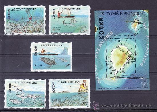 SANTO TOME Y PRINCIPE AÑO 1998 SERIE Y HB SIN CHARNELA, EXPO 98, FAUNA MARINA, PESCA, MAPA, (Sellos - Extranjero - África - Otros paises)