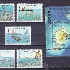 Sellos: SANTO TOME Y PRINCIPE AÑO 1998 SERIE Y HB SIN CHARNELA, EXPO 98, FAUNA MARINA, PESCA, MAPA, . Lote 24314389