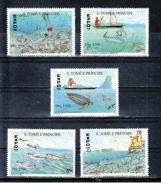 SANTO TOME Y PRINCIPE AÑO 1998 SIN CHARNELA, EXPO 98, FAUNA MARINA, PESCA, MAPA, (Sellos - Extranjero - África - Otros paises)