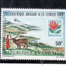 Stamps - ruanda a 5 sin charnela, exposicion filatelica philexafrique en abidjan - 24461076