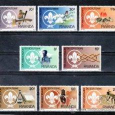 Sellos: RUANDA 1081/8 SIN CHARNELA, 75º ANIVERSARIO DEL SCOUTS, PROTECCION NATURALEZA, PAJAROS, FAUNA, . Lote 24461300